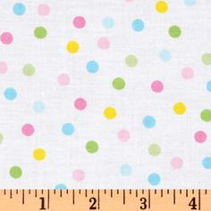 Remix Polka Dots Spring from @fabricdotcom  Designed by Ann Kelle for Kaufman Fabrics, this cotton print fabric is perfect for quilting, apparel and home décor accents. Colors include shades of pink, yellow, light green and light blue on a white background.