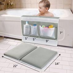 Bath Kneeler Pad - Large Thick Easier Safety Baby Bath Mat Kneeling Pad with Toy Organizer - Elbow Rest Padding for Baby Bath, Garden Work, Exercise, Yoga Gray - Baby Necessities, Baby Essentials, Baby Life Hacks, Baby Bathroom, Baby Must Haves, Baby Supplies, Baby Body, Cool Baby Stuff, Baby Stuff Must Have