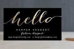 Chic Black and Gold Foil-Pressed Business Cards by Hooray Creative at minted.com