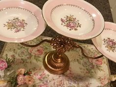 GORGEOUS Tiered Dessert / Cake Stand w/ Vintage Shabby Pink Rose Dishes  | eBay