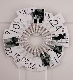 calendrier de l'Avent original rond-pinces-linge-photos