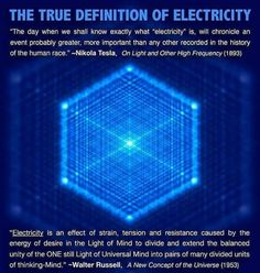 """THE TRUE DEFINITION OF ELECTRICITY """"The day when we shall know exactly what """"electricity"""" is. MII chronicle an event probably greater. more important than any other recorded in the history of lhe human race. On Lightand Other High Frequency Science Facts, Fun Facts, Unique Facts, Tesla Quotes, Nicolas Tesla, University Of Sciences, Spirit Science, E Mc2, Space And Astronomy"""