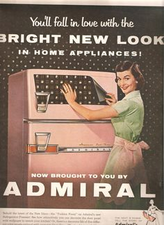 Image detail for -This is a cool vintage ad featuring a pink refrigerator.