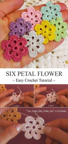 Newest Pics Crochet Flowers easy Suggestions Six Petal Crochet Flower Tutorial Crochet Applique Patterns Free, Crochet Flower Patterns, Crochet Flowers, Crochet Stitches, Knitting Patterns, Crochet Ideas, Easy Crochet Flower, Crochet Earrings Pattern, Crochet Flower Tutorial