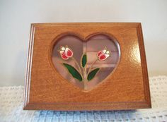 Vintage Wood Cut Out Heart Jewelry Box Pink by ALEXLITTLETHINGS
