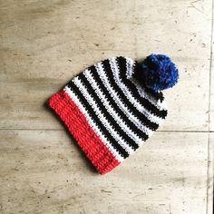 Baby Crochet Cotton Monochrome Striped Bobble by TheManchesterBee