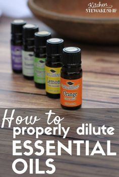 How to Dilute Essential Oils for Topical Applications - just remember it's as easy as 1-2-3. Free printable chart with all the drops and teaspoons for babies, toddlers, children and adults! It's important to dilute essential oils on the skin with a carrier oil like coconut oil (for almost all oils; very few can be applied neat). Learn how!