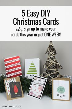 9 More Easy Homemade Christmas Cards with Step by Step Instructions – DIY Fan Dyi Christmas Cards, Inexpensive Christmas Gifts, Christmas Craft Projects, Holiday Cards, Handmade Christmas, Card Ideas, Cricut Cards, Cricut Vinyl, Sign