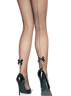 Back Seam Bow Fishnet Pantyhose $12.50 AT vintagedancer.com