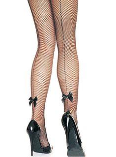 Back Seam Bow Fishnet Pantyhose $12.50 AT vintagedancer.com