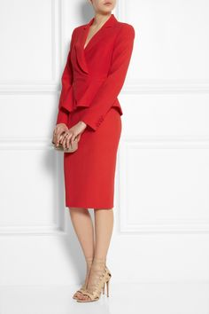 HOMECOMING SUIT:   Alexander McQueen red crepe flared jacket and pencil skirt