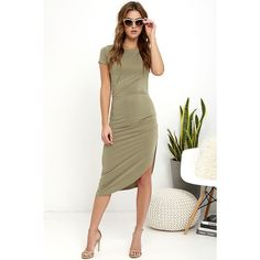 Capital City Washed Olive Green Midi Wrap Dress ($48) ❤ liked on Polyvore featuring dresses, green, green midi dress, white dress, sexy green dress, sexy dresses and white ruched dress