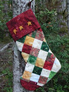 Four Patch Quilted Christmas Stocking With by quiltedoccasions, $27.00 Christmas Quilt Patterns, Christmas Stocking Pattern, Christmas Sewing, Christmas Items, Rustic Christmas, Christmas Projects, Holiday Crafts, Christmas Quilting, Christmas Christmas