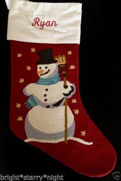 Pottery Barn Crewel Embroidered Christmas Stocking Ryan Snowman Red New | eBay