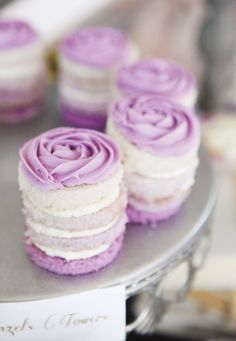 Purple mini cakes perfect for bridal showers, weddings, brunch.so many occasions. Petit Cake, Cake Recipes, Dessert Recipes, Cupcake Cookies, Cakes And More, Just Desserts, Purple Desserts, Purple Cakes, Let Them Eat Cake