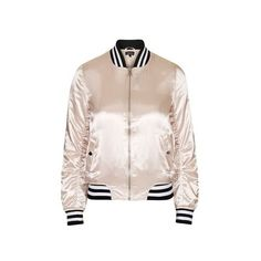 TopShop Sateen ma1 Bomber Jacket (120 AUD) ❤ liked on Polyvore featuring outerwear, jackets, pale pink, bomber jacket, pink bomber jacket, sateen jacket, flight jacket and topshop