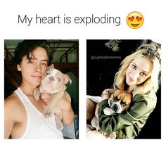 I dunno what's cuter: the dogs or the kids. Or the combination #riverdale #colesprouse #lilireinhart