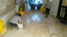 Decapado del  piso de mármol y degradación ascendente