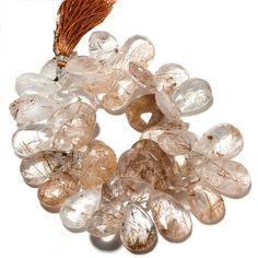 Golden Rutilated Quartz Pear Beads, Copper Rutile Quartz Briolette Beads, 23x16mm To 22x14mm, 8 Inch Strand, Sku-S19 by GemsDiamondsBySHIKHA on Etsy