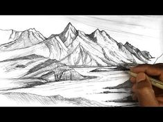 Free for personal use Mountain Drawing of your choice Mountain Landscape Drawing, Landscape Sketch, Landscape Drawings, Tree Drawings Pencil, Ink Pen Drawings, Art Drawings Sketches, Sketch Art, Guy Drawing, Line Drawing