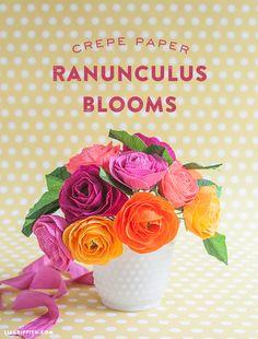 Make a Crepe Paper Ranunculus Bouquet with Lemon Leaves   Lia Griffith