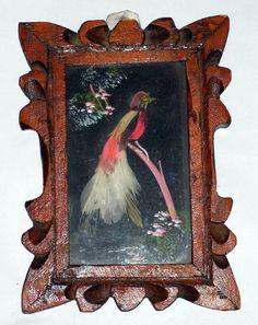Vintage Mexican Feathercraft Feather Art Bird by retrosideshow, $29.99