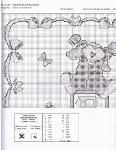 Sleepy bunnies Quilt pg.1 Baby Cross Stitch Patterns, Cat Cross Stitches, Cross Stitch Charts, Baby Kiss, Couture, Needlepoint, Quilt Patterns, Embroidery Designs, Bunny