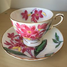 """Tuscan """"Hawaiian Flowers Plumeria"""" Vintage Teacup and Saucer, Pink Magenta Flower Tea Cup and Saucer, English Floral China by CupandOwl…"""