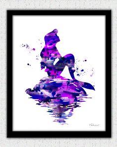 Mermaid art, Mermaid art print, Ariel print, Purple Mermaid, Disney Ariel, Little Mermaid, Nursery Decor, Little Mermaid, Mermaid Print by FluidDiamondArt on Etsy https://www.etsy.com/listing/209667957/mermaid-art-mermaid-art-print-ariel
