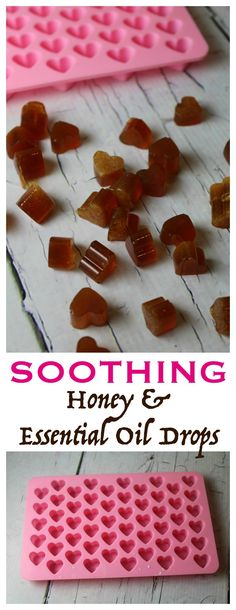 DIY Soothing Essential Oil & Honey Drops - replace with doterra oils : on guard, lemon, frank