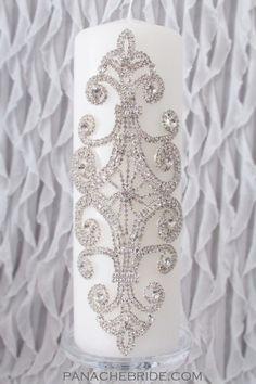 Amazing Wedding Unity Candles beautifully embellished with Rhinestones. www.panachebride.etsy.com