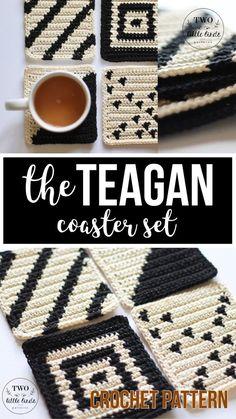 Ideas for crochet coasters tutorial hooks Crochet Coaster Pattern, Tapestry Crochet Patterns, Modern Crochet Patterns, Bird Patterns, Coaster Design, Coaster Set, Crochet Gifts, Crochet Hooks, Crochet Pillow