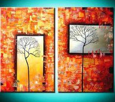 obrazový set, abstraktné obrazy, moderné obrazy, obrazy do interiéru, červená, oranžová