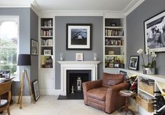 Crescent Road, Kingston upon Thames, Surrey - traditional - Home Office - London - Dyer Grimes Architecture Living Room With Fireplace, Cozy Living Rooms, Living Room Grey, Home And Living, Small Living, White Fireplace, Fireplace Design, Living Room Light Stand, Living Room Lighting