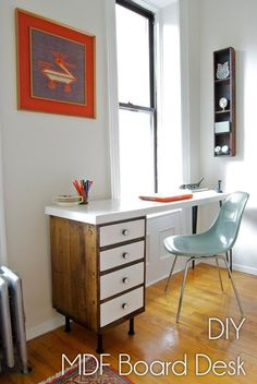 Check out this idea for a #DIY repurposed cabinet and MDF top desk. Looks easy enough! #HomeDecorIdeas @istandarddesign