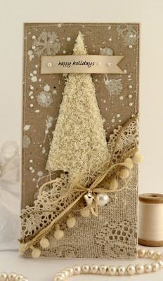 Gorgeous White Glittered Christmas Tree Card...