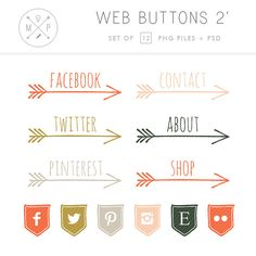 Arrow Blog Buttons - Vintage Social Media Buttons - Hand Drawn Website Buttons - custom colors and size - personal and commercial use (2)