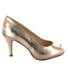 Zapato de piel Peep Toe en tono Cobrizo. Imprescindible, cómodo, con estilo. Ref. 5773 //Leather Peep Toe heel in Copper colour. Indispensable, comfortable, with style. Ref.5773