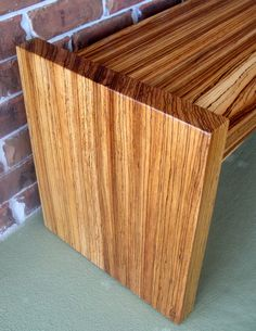 Exotic Zebra Wood Hand Crafted 44 Inch Wide Contemporary Bench