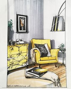 """Лимонный"" скетч от Саши Балябиной.️ @sasha_balyabina #sketch #sketchbook #sketching #interiordesign #interior #design #decor #decoration #copic #marker #furniture #handrendering #handrender #illustration #draw #drawing #topcreator #arqsketch #arqsketch #интерьер #рисунок #скетч #маркер #маркеры #arquitecture #architecture"