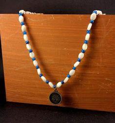 Necklace Vintage Style White Chic Button Closure.