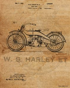 "Title: Vintage Patent Art Drawing of Harley Davidson Size: 11"" x 14"" (available in larger sizes) Medium: Fine art giclee print on gallery wrapped canvas NOTE: room view shown is of one of the larger c"