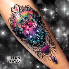 Done at . With love and the bes Diamond Tattoos, Rose Tattoos, Body Art Tattoos, Sleeve Tattoos, Gem Tattoo, Jewel Tattoo, Tattoo Life, Kawaii Tattoo, Unicorn Tattoos