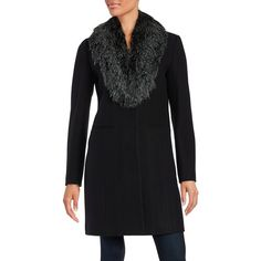 Vera Wang Faux Fur-Trimmed Wool-Blend Coat ($398) ❤ liked on Polyvore featuring outerwear, coats, black, vera wang, faux fur trim coats, wool blend coat, faux coat and vera wang coats