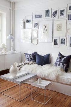 White, black, wooden floor.