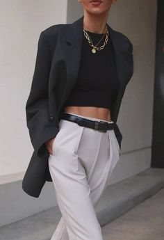 fashion trends / crop top + blazer + white pants Get your spring style story straight—from the perfect jeans, to statement tops and a new take on the boyfriend blazer. Get inspired by the ladies who wear them well and shop the looks. Classy Outfits, Chic Outfits, Spring Outfits, Trendy Outfits, Fashion Outfits, Womens Fashion, Fashion Trends, Fashion Pants, Travel Outfits