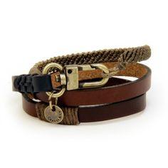CAPUTO & CO. Triple Wrap Bracelet / Brown