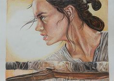 Star Wars Rey / Daisy Ridley print of colored by CJepsenFineArt