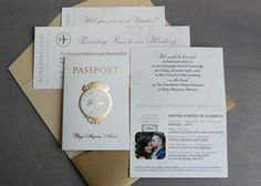 Gold foil passport invitation suite for destination wedding by Paperwhites (paperwhites-invitations.com)