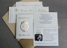Gold foil passport invitation suite for destination wedding by Paperwhites (paperwhites-invitations.com)